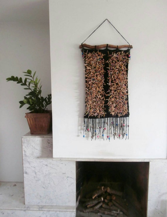 Crochet Wall Tapestry Bohemian Wall Hanging Yarn Tapestry