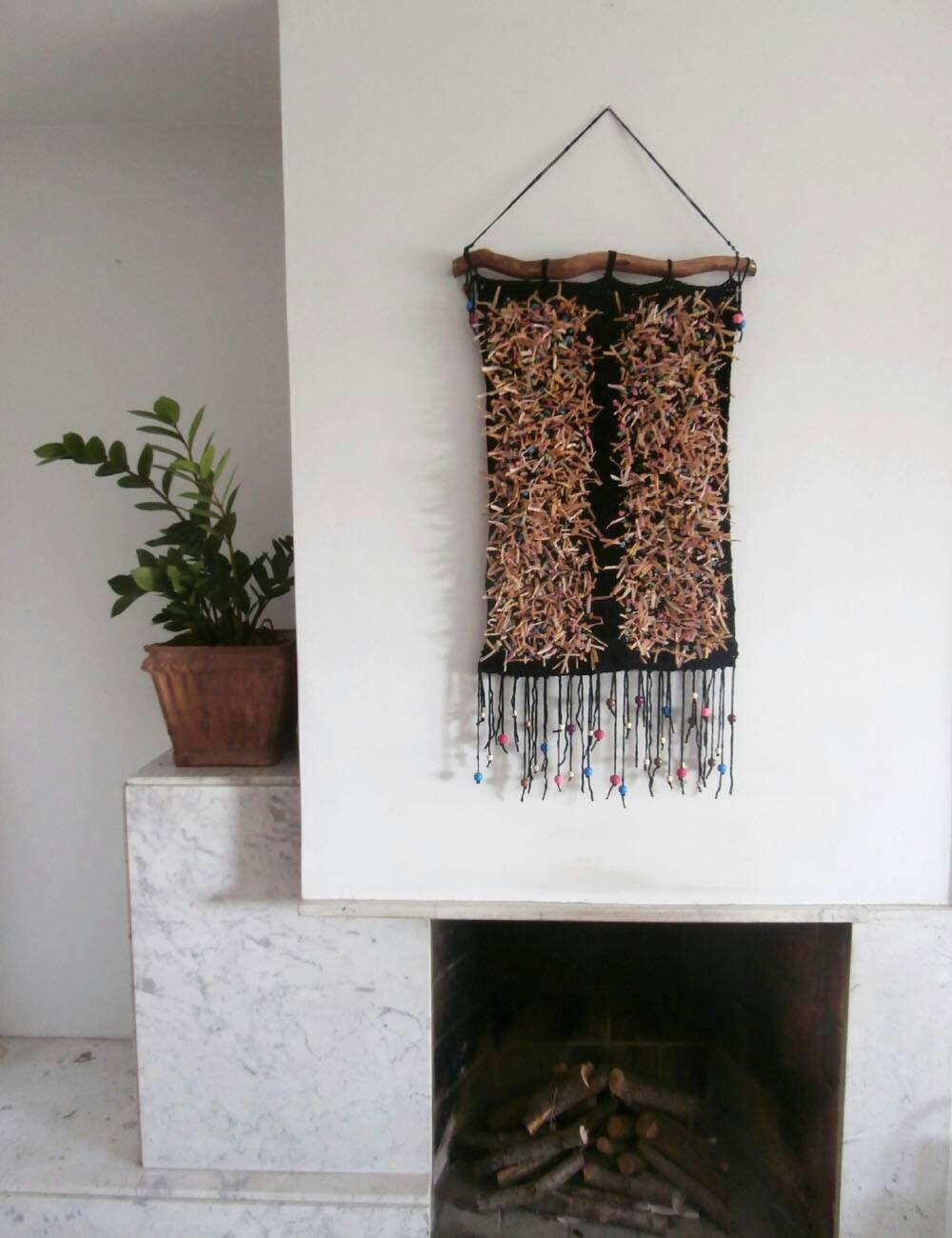 Crochet Wall Tapestry Bohemian Wall Hanging Yarn Tapestry