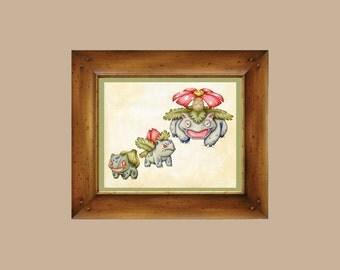 Bulbasaur Evolution - Pokémon Watercolor 8x10 on Fine Art Watercolor Paper - Giclee Print - Bulbasaur / Ivysaur / Venusaur