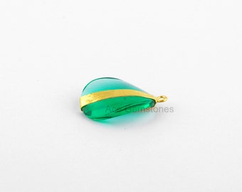 Green Fluorite Quartz Twisted Oval Gemstone Satin Gold Plated 925 Sterling Silver Charm and Connector - 1 Pcs