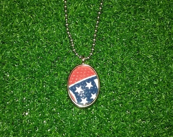Football Necklace- Red/Blue/White Stars- Limited Edition