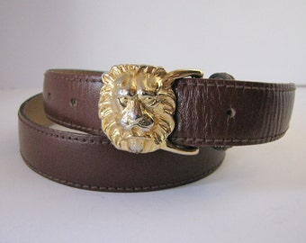 Lion Head Belt Brown Leather By Anne Klein Calderon Designer Size Medium Gold Lion Leather Belt Lion Belt Buckle Anne Klein Belt