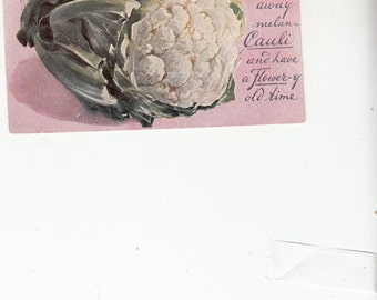 Image Of Cauliflower 1909 Postcard With A Corresponding Verse