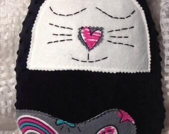 Plush cat pillow