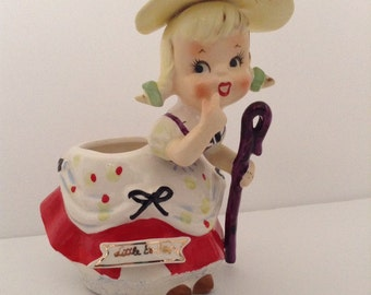 Rare Vintage Little Bo-Peep Nursery Rhyme Planter Figurine