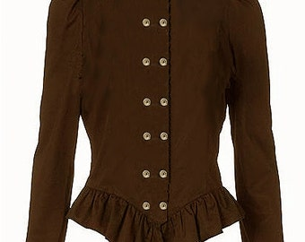 Steampunk Dark Brown Button Blouse - Ready to Ship