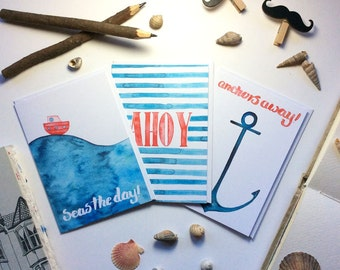 Greeting Cards, Pack Of Three, Nautical, Anchor, Blank Cards, Just Because Cards, Art Card, Thinking Of You Cards, Ahoy, Stripes, Friendship