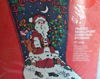 Vintage Bucilla Needlepoint Stocking Kit - Santa Claus and Bunny Rabbit - Unopened Kit 60391