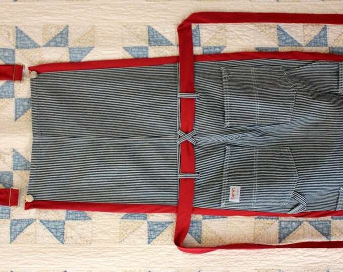 HALF PRICE ** Adult Upcycled Denim Overall Apron. Striped Denim Bib Overalls converted to Apron. Trimmed in Red. Belt Waist Tie