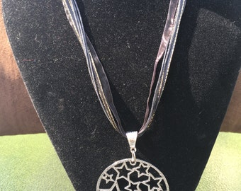 Black Ribbon Necklace with Star Circle Pendant