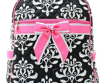 Damask Bloom Print Quilted Monogrammed Backpack Black and White with Hot Pink Trim
