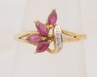 Marquise Cut Ruby & Diamond Cluster Ring 10K Yellow Gold