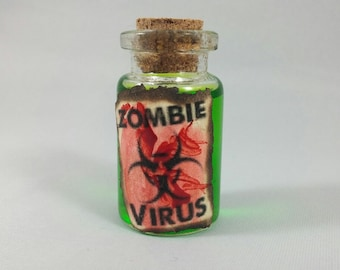 Zombie Virus Sci-Fi / Horror Mini Bottle Vial Necklace