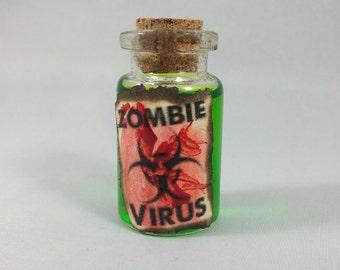 Zombie Virus Sci-Fi / Horror Mini Bottle Vial Necklace