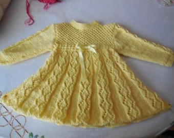 PRETTY dress baby knitted handmade - 3 months - pretty openwork points diamond and honeycomb in the yoke