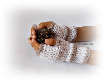 Crochet Gloves, White gloves, Fingerless gloves, Crocheted gloves, Mittens, Crochet mittens, White knit mittens, Women gloves, Wist warmers