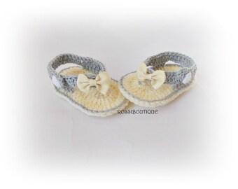 Baby Flip Flops, Baby Sandals, Gtay sandals, Crochet Baby Flip Flops, Summer Baby Shoes, Crochet Baby Sandles, Girl Sandles