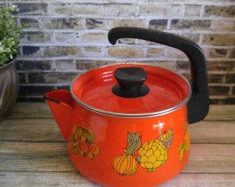 Vintage Enamel Tea Kettle, Orange Tea Pot with Vegetables
