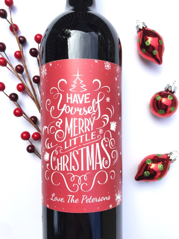 Christmas Wine Labels Happy Holidays Merry Christmas Have