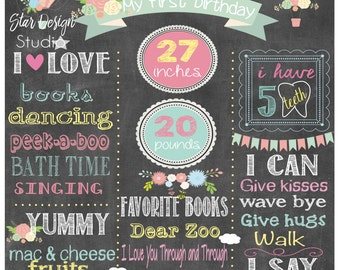 Hot Air Balloon Birthday Girl Poster Chalkboard, Hot Air Balloons- Vintage Any age available, Digital File