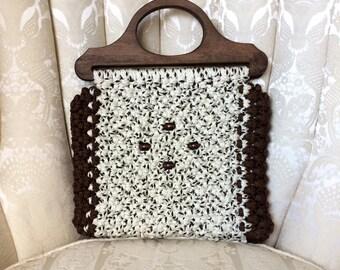 1970s Handmade Macrame and Wood Handbag