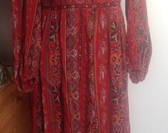 1970s Hippie, folk, boho, vintage Maxi Dress size 12-14 (uk)