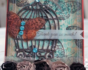 Thank you so much!, OOAK Thank you, thank you card, handmade card