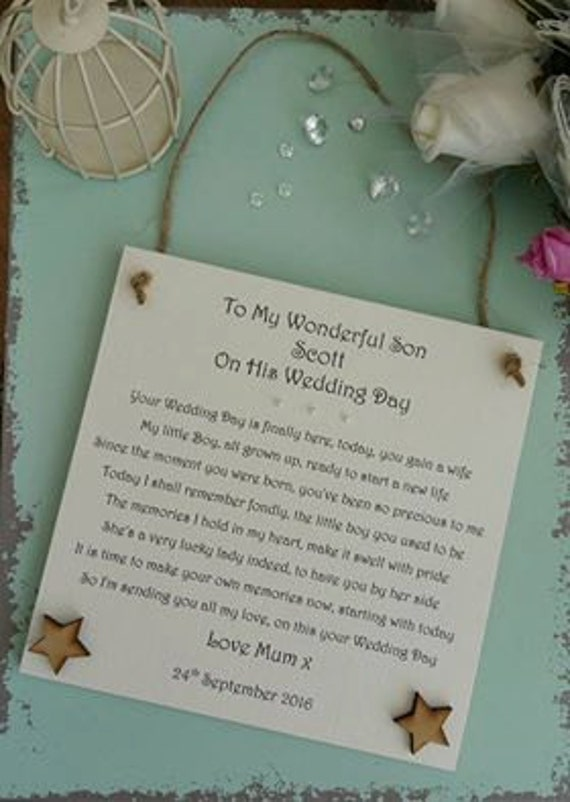 Wedding Gift Ideas For Stepson : Wedding Day gift plaque, Personalised wedding plaque, Groom wedding ...