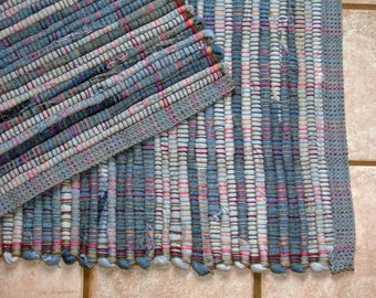"Rag Rug #388 blue jean rug 27"" x 40"" GREAT FOR DORMS"