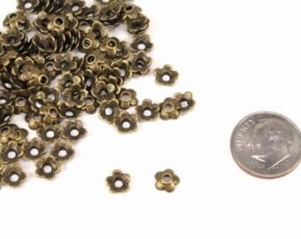 6.5mm flower bead caps, antique brass, pack of 100, cadmium free, lead free bead caps, flower beadcaps (2567sf)