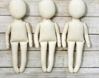 """3 Blank doll body-9"""",  blank rag doll, ragdoll body,the body of the doll made of cloth"""