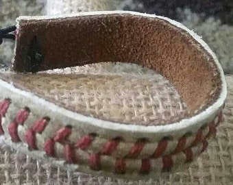 Unique REAL leather baseball bracelet with its ORIGINAL seams.