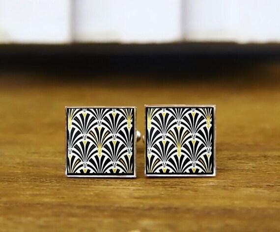 Myrtle Floral Tile Cufflinks, Personalized Cufflinks, Custom Wedding Cufflinks, Cool Gift, Art Deco, Round, Square Cufflinks, tie clips