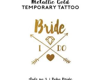 Bachelorette Tattoo Favors | Metallic Gold Temporary Tattoos for Bachelorette Party Favors, Gold Foil Bride Tribe Tattoos, Boho Arrow Tribal