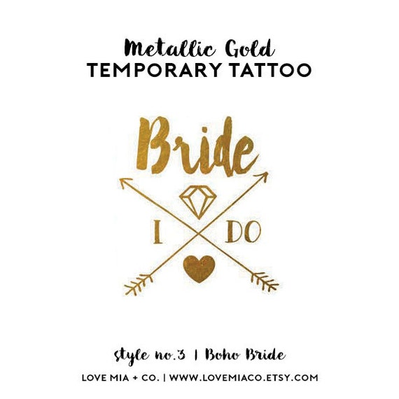 Bride Bachelorette Tattoo | Metallic Gold Temporary Tattoos for Bachelorette Party Favors, Boho Arrow Tribal Gold Foil Bride Tribe Tattoo