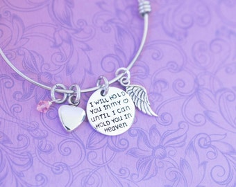 I Will Hold You in My Heart Until I Can Hold You in Heaven Bracelet with Urn and Crystal - Cremation Jewelry - Hand Stamped Jewelry