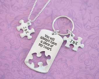 You Will always Have a Piece of My Heart - Necklace and Keychain Set - Puzzle  - Custom Engraved - Engraved Jewelry