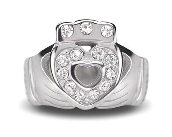Stainless Steel Celtic Irish Claddagh Beads / Claddagh Charms Celtic Beads With CZ For European Charm Bracelets #18-CLB