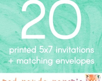 20 Printed 5x7 Invitations on Cardstock with Matching Envelopes
