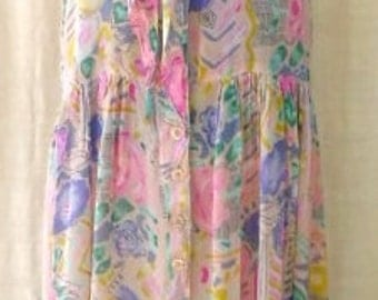 VINTAGE 80s COTTAGE CHIC Flowered Dress