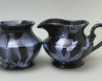 Blue Mountain Pottery Sugar and Creamer, Beautiful Black and Purple Streaks