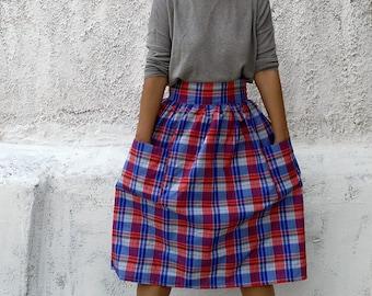 Checkered midi skirt-gingham midi skirt-Full skirt-highwaisted skirt-womens midi skirt-retro skirt-modest skirt-chic skirt-retro fashion