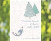 16 Month Forest Friends Calendar: 2016 2017 Printable Calendar - Full Page Calendar Download - Vertical Calendar - Bird - Bear - Rabbit