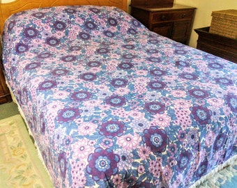 Retro 1970s Kitsch Purple Floral Single Bed Cover Bedspread Throw Fringed Afghan