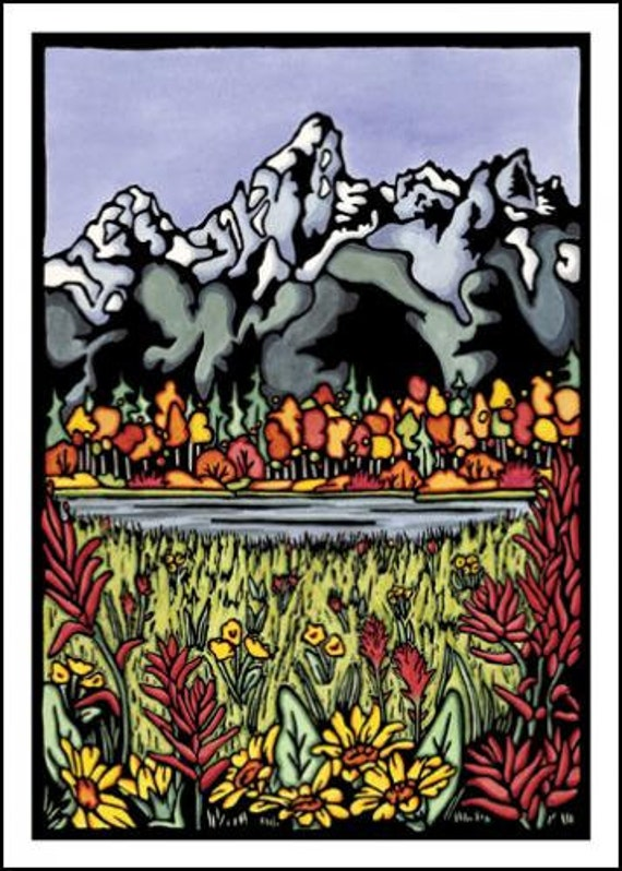 The Tetons - Single Blank Sarah Angst Greeting Card - Autumn in the Mountains