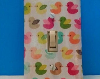 Little Decoupaged Duckie Light Switchplate Cover, Handmade, Single Switchplate, Duck Decor, Wall Art, Made By Mod.