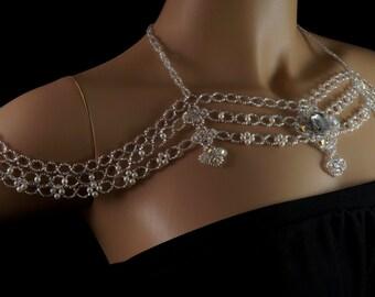 Czech crystal pearl beaded bridal shoulder necklace. silver Czech crystal wedding shoulder necklace. vintage romantic shoulder necklace