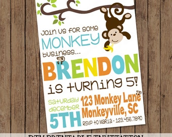 Monkey Birthday Invitation | Printable Digital Invite | Monkey Business | DIY | Any age 1st, 2nd, 3rd, 4th, 5th | Yellow Green Blue Orange