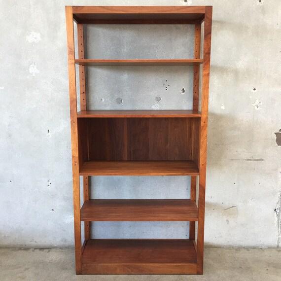 mid century modern walnut shelving unit by urbanamericana. Black Bedroom Furniture Sets. Home Design Ideas
