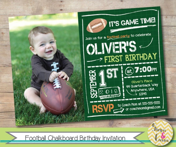 Football First Birthday Invitation Printable Football Birthday